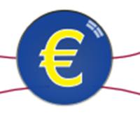 symbole de l'euro en jaune sur fond bleu