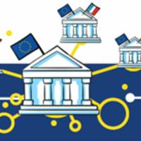 dessin montrant la bce reliée à la banque de France, la Bundesbank, la banque d'Espagne