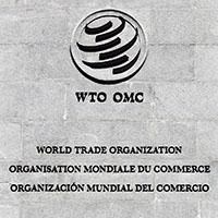 logo et  nom de l'omc sur le mur de l'organisation à Genève